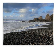 Winter At Sandymouth Fleece Blanket