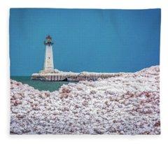 Winter At Sodus Point  Fleece Blanket