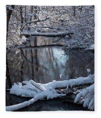 Winter At The Brook Fleece Blanket