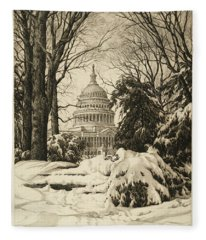 Winter At The Capitol Fleece Blanket