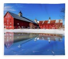 Winter Barn Reflection Fleece Blanket