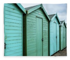 Winter Beach Huts IIi Fleece Blanket