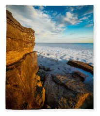 Winter Beach Sunset Fleece Blanket