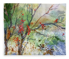 Winter Berries Fleece Blanket