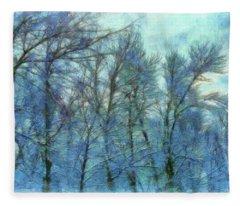 Winter Blue Forest Fleece Blanket