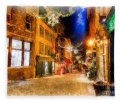 Winter Carnival Old Quebec City Lower Town Fleece Blanket