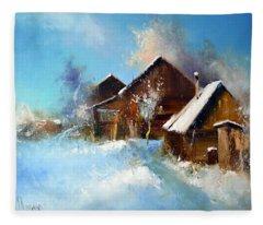 Winter Cortyard Fleece Blanket