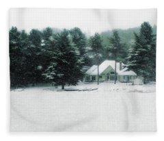 Winter Cottage Fleece Blanket