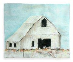 Winter Country Barn Fleece Blanket