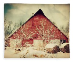 Winter Day On The Farm Fleece Blanket