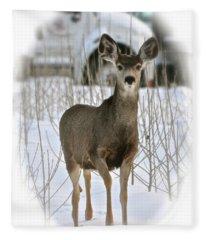 Winter Deer On The Tree Farm Fleece Blanket