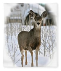 Winter Deer On The Tree Farm Fleece Blanket