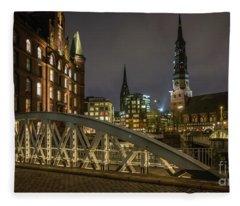 Winter Evening In Hamburg  Fleece Blanket