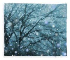 Winter Evening Snowfall Fleece Blanket