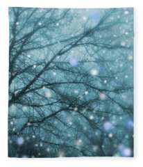 Winter Evening Snowfall Fleece Blanket
