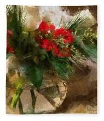 Winter Flowers In Glass Vase Fleece Blanket