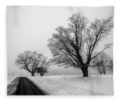 Winter Fog And Maple Trees Fleece Blanket
