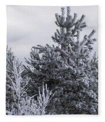 Winter Frost On The Trees Fleece Blanket