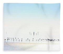Winter Geese Frozen Ice Fleece Blanket
