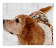 Winter Girl Painted Portrait Fleece Blanket
