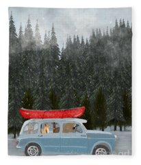 Winter Holiday Fleece Blanket