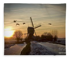 Winter In Holland-2 Fleece Blanket