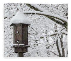 Winter In Spring Bird Feeder Fleece Blanket