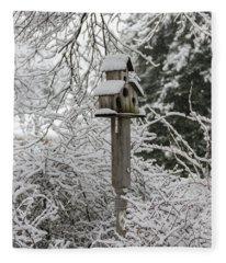 Winter In Spring Birdhouse 6 Fleece Blanket
