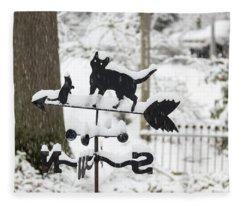 Winter In Spring Feline Weathervane Fleece Blanket