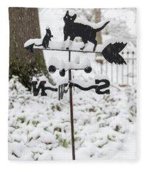 Winter In Spring Kitty Weathervane Fleece Blanket