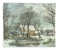 Winter In The Country - The Old Grist Mill Fleece Blanket