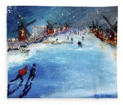 Winter In The Netherlands Fleece Blanket