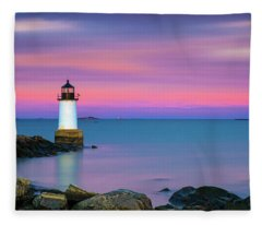 Winter Island Light 1 Fleece Blanket