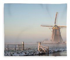 Winter Landscape In The Netherlands With A Windmill At Sunrise Fleece Blanket