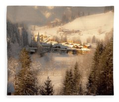 Winter Landscape Salzburger Land Fleece Blanket