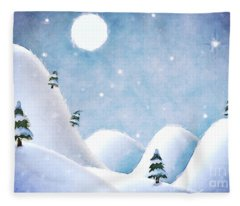 Winter Landscape Under Full Moon Fleece Blanket