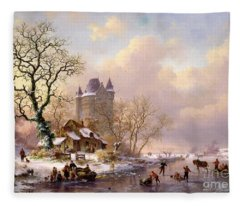 Winter Landscape With Castle Fleece Blanket