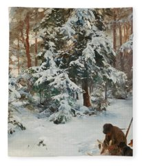 Winter Landscape With Hunters And Dogs Fleece Blanket
