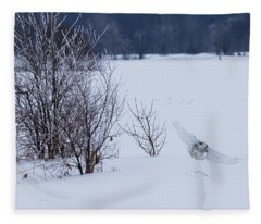 Winter Landscape With Snowy Owl Hunting Fleece Blanket