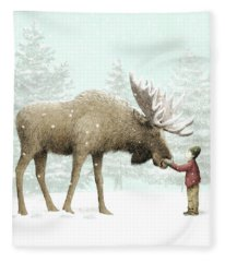 Winter Moose Fleece Blanket