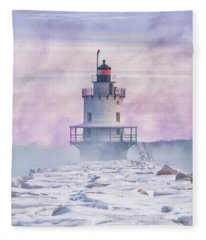 Winter Morning At Spring Point Ledge Fleece Blanket