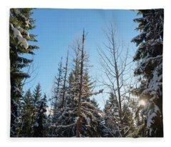 Winter Morning In The Forest Fleece Blanket