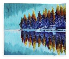 Winter - Mountain Lake Fleece Blanket