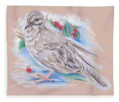 Winter Mourning Dove Fleece Blanket