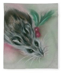 Winter Mouse With Holly Fleece Blanket