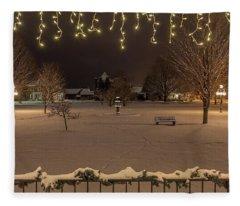 Winter Night From The Gazebo Fleece Blanket