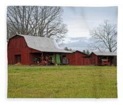 Winter Red Barn Fleece Blanket