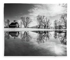 Winter Reflection Bw Fleece Blanket