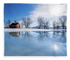 Winter Reflection Landscape Fleece Blanket