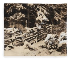 Winter Scene With Hunter And Fox By Fence Fleece Blanket